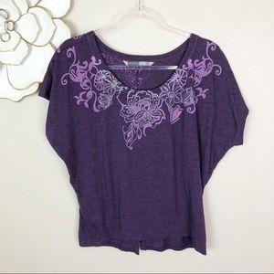 Athleta purple short sleeved tee floral graphics